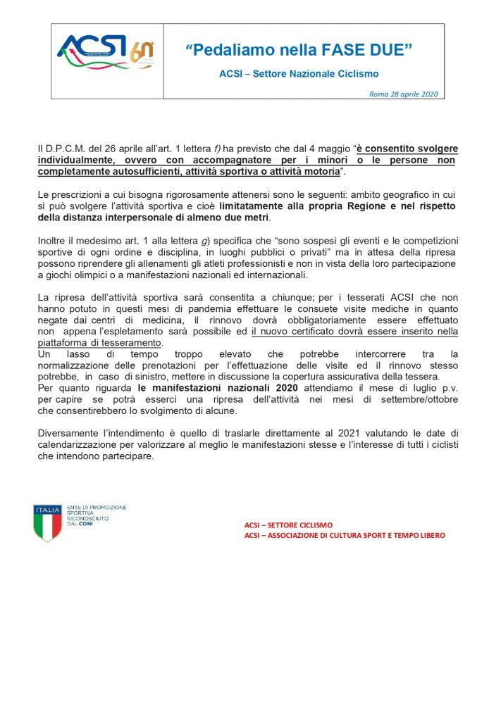 ACSI ciclismo - Pedaliamo nella fase 2 (certificazioni mediche e altre info) - 28 aprile 2020_page-0001