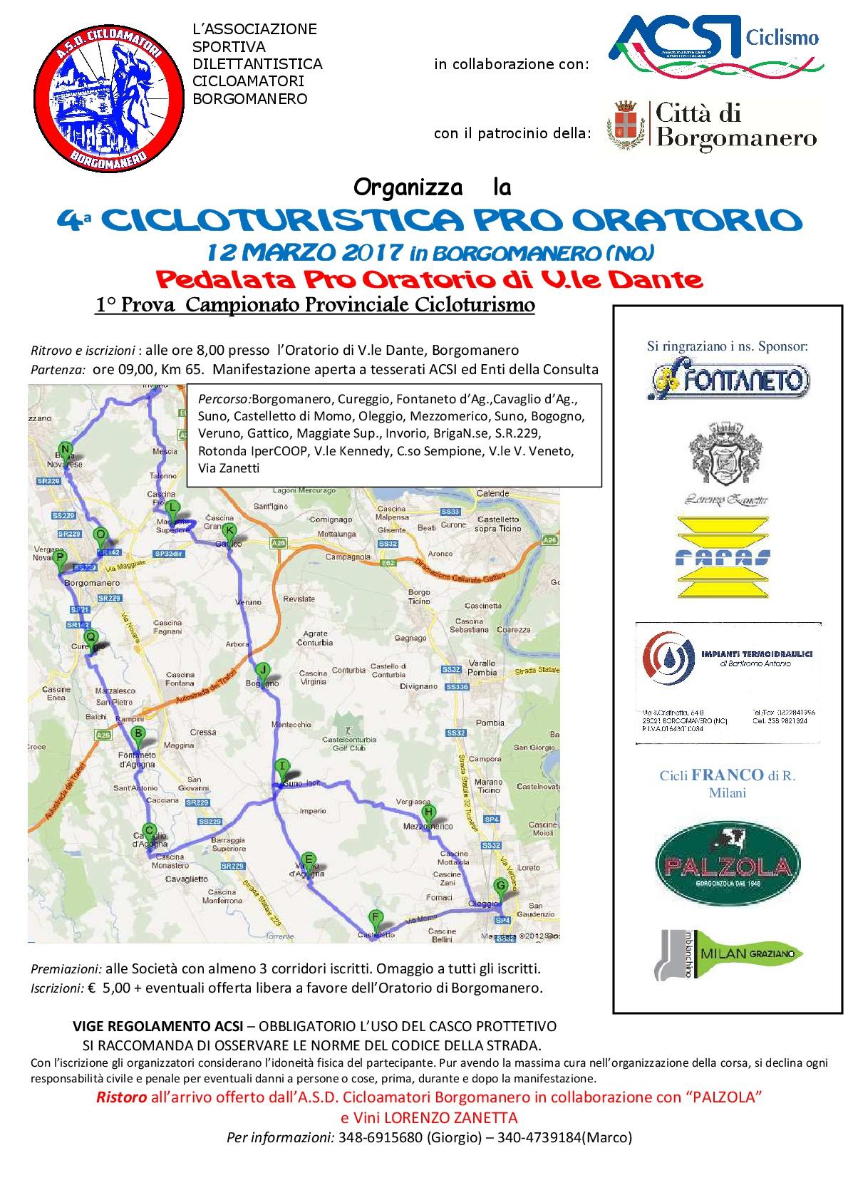 """Cicloturistica """"Pro Oratorio di Borgomanero"""""""